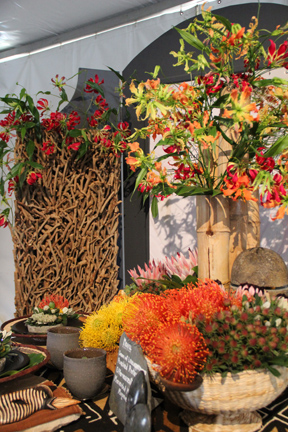 This Zimbabwe-t.hemed flower display caught the eye of GWA members